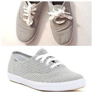 Black and White Seersucker Keds w Gray Appearance
